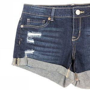 Aéropostale Distressed Midi Jean Shorts